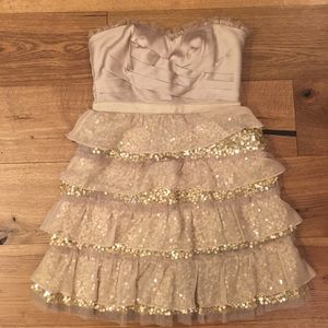 BCBG Petite Champagne Tiered Glitter Dress